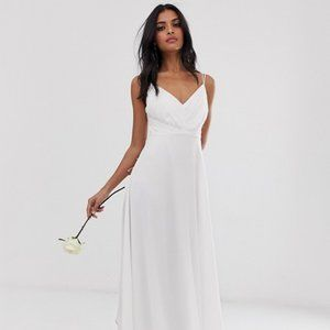 Asos White Bridesmaid Wedding Cami Maxi Gown